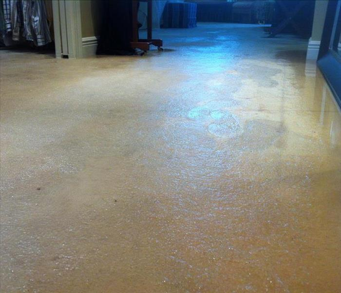 Water damage cleanup repair and restoration servpro of for Bathroom flooded wet carpet