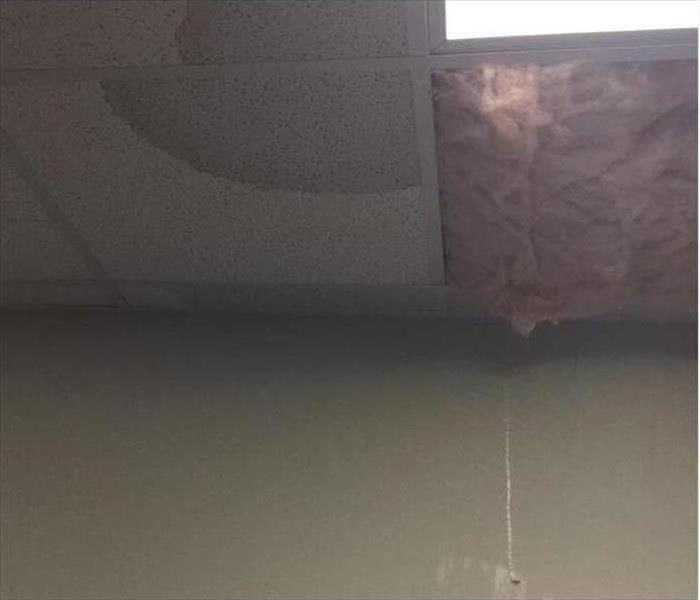 Storm damages to building ceiling. Pink insulation and a water spot on the ceiling.