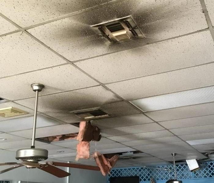 Fire damage on the ceiling in an office building