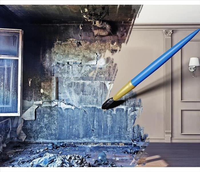 Art picture of an before and after picture of a home with mold and there is a paint brush